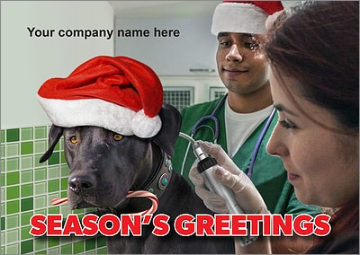 Canine Exam Christmas Card (Glossy White)