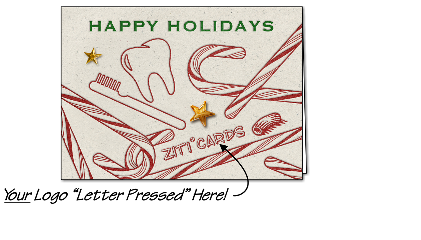 Dental Logo Candy Canes (Glossy White)