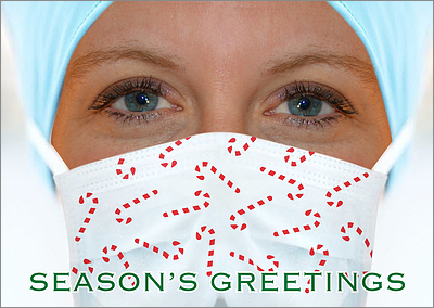 Mask Nurse Christmas Card (Glossy White)