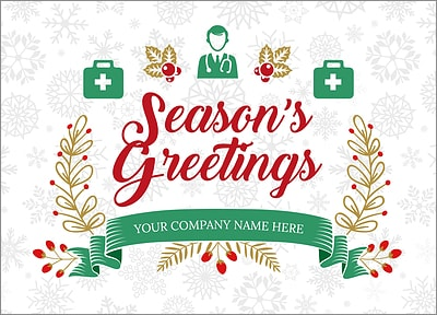 Medical Snowflake Christmas Card (Glossy White)