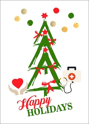 Medical Tree Holiday Card (Glossy White)