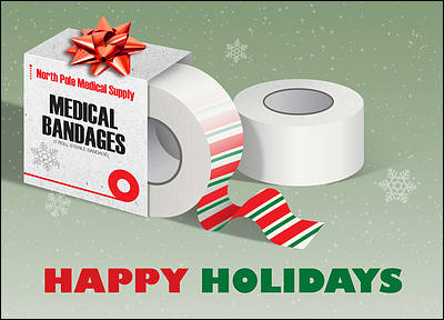 Medical Holiday Greeting Card (Glossy White)