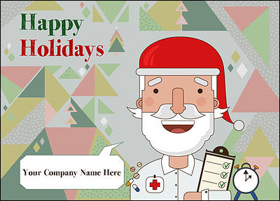 Santa Nurses Christmas Card (Glossy White)